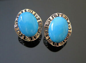 14K YELLOW GOLD GREEK KEY TURQUOISE CABOCHON LEVERBACK EARRINGS 5.5 GRAMS