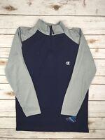 Mens Champion 1/4 Zip Long Sleeve Shirt Performance Blue Grey Pullover S M L XL