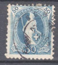 SWITZERLAND-1882-HELVETIA- 50 RAPPEN - BLUE  stamp-Y&T nr.76
