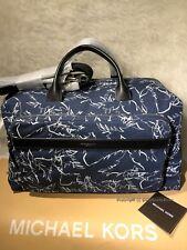 NEW! Michael Kors Mens $448 Grant Palm-Print Duffel Bag-Midnight 33S7SGRU3R
