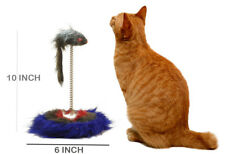 Pet Cat Kitten Scratching Post Play Pad Interactive Toy with Fuzzy Hair Mouse