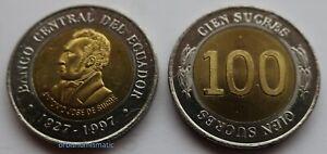 1997 ECUADOR 100 SUCRES SOUTH AMERICA UNC BI-METALLIC COIN UNCIRCULATED NEW G409