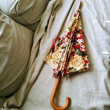 Vintage Ralph Lauren Floral Burgundy Red Wood Handle Umbrella Victorian