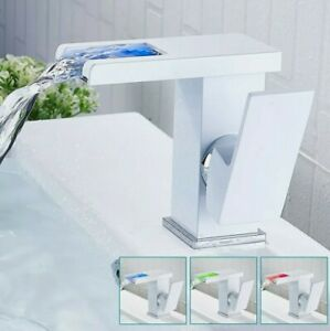 White Waterfall LED Bathroom Taps Basin Mixer Bath Tap Single Lever RGB Faucet