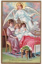 GORGEOUS  Postcard - Embossed Easter Angel Children Bed 1909 - George Holbrook