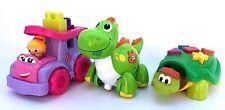 Set Bundle of 3 Toddler Toys - Mega Bloks Car, Dino, Fisher-Price Turtle