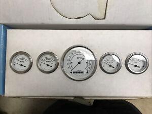 Classic White Five Gauge Set - Classic Instruments - CW00SLF CUSTOM HOT RAT ROD