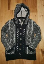 Fresh Produce hand Knit Cardigan Black sweater hooded silver buttons MED LARGE