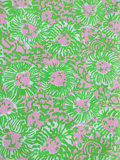 "Lilly Pulitzer Sunny Side Cotton Poplin Fabric pink lion 1yd 36"" X 57"""