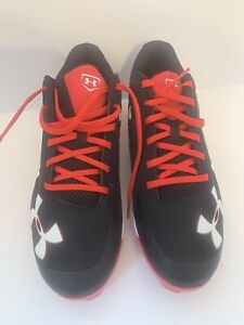 Black Under Armour Charged Metal Baseball Cleats Men's Size 13 Authentic