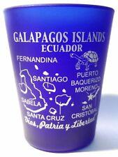 GALAPAGOS ISLANDS ECUADOR COBALT BLUE FROSTED SHOT GLASS SHOTGLASS