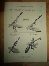 Vintage Corkscrew Images Copy Print L Lumley & Co Minories London #601