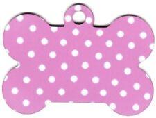 Custom Pet Tag ID Pink Polka Dot Bone FAST Shipping!