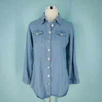 Soft Surroundings Size Small S Denim Shirt Collared Long Sleeves Button Down Top