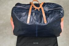 Paul Smith Navy/Pink Leather Zip Holdall Large Shoulder Duffle Weekend Bag Mens