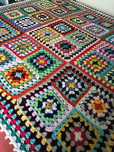 New Handmade Large Vintage Style Crocheted Granny Blanket 58 Inches Squared