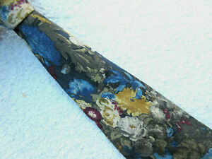 BEIGE BLUE GOLD BURGUNDY FLORAL 3.75 INCH SILK necktie by LANVIN PARIS
