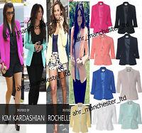 New Womens Ladies Office Celebrity Inspired Tailored Coat Jacket Blazer Top 8/16