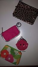 Lot of 4 Coin Purse Keychain Wallets Pouches Clinique Smiley Face Animal Print