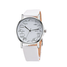 Women's Leather Band Analog Quartz Wrist Watch Stainless Steel Watches