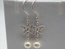 OOAK Handmade 925 sterling silver butterfly & freshwater pearl earrings
