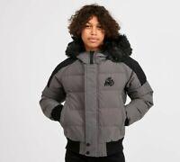 Kings Will Dream KWD New Kids Junior Winter Puffer Hooded Jacket Coat Charcoal