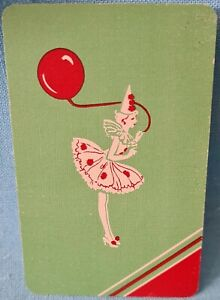 Beautiful Party Clown Silhouette swap card, 70s Vintage.playing Back. V.G.C