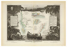 French Africa Senegambia Madagascar illustrated map Levasseur ca.1856