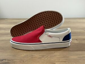 Vans MN Asher Slip-On Shoes Red/True White/True Blue Men's SZ 9 ( VN0A347734Z )