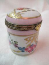 Antique France Limoges porcelain Trinket Pill Vanity Jar hand painted Signed