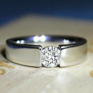 Men's Statement Engagement Tenson Set Ring 2 CT Excellent Diamond 14K White Gold