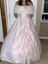 Vintage southern belle pink Lace Prom dress Hoop Skirt Sz 9/10