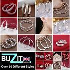 925 Sterling Silver Plated Hoop Earrings Large Small Hooped Sleeper Ladies UK