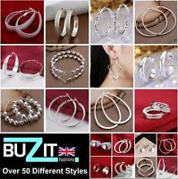 Hoop Earrings Silver Plated Hoop Earrings Large Small Ladies Sleeper UK 1 - 7cm
