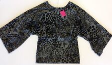 Women's Black/ Grey Leopard Print Batwing Sleeves Tunic Top NEW w/Tags L 14-16