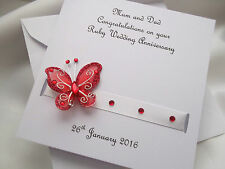 Personalised Ruby 40th Wedding Anniversary Card (Large)