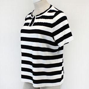 Talbots Plus Black/White Striped Crew Neck Blouse Top Petite 2X Spring Summer