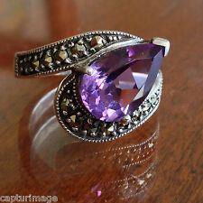 Sterling 12x8 Amethyst Pear Shape & Marcasite Swirl Style Ladies Ring size #6