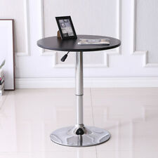 Round Bar Table Adjustable Swivel Bistro Pub Drinks Snacks Coffee Table Black US