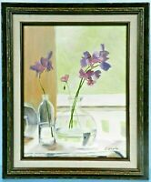 "M. JANE DOYLE SIGNED ORIG.ART OIL/CANV PAINTING ""SWEET PEAS"" (STILL LIFE) FRAMED"