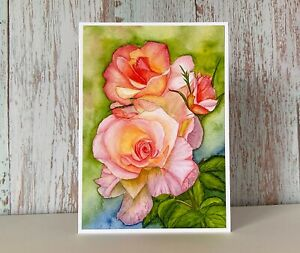 Roses Watercolour Print Greeting Card, Can be Personalised for any Occasion