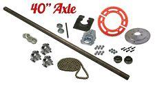 "Drift Trike 1"" x 40"" Live Axle Kit w/Hubs Bearings Flangettes #35 Chain Hardware"