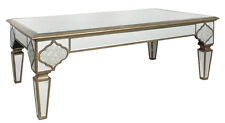 VENETIAN MIRRORED COFFEE TABLE WITH ORNATE GOLD DESIGN, MIRRORED TABLE