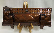 Authentic Burberry Medium Patent Leather Quilted Studded Clutch MSRP $950