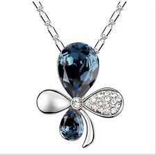 NEW Womens Flower Ink Blue Crystal Rhinestone Silver Chain Pendant Necklace  ---