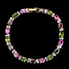 Tennis Multi-Color CZ Cubic Zirconia Crystal Bracelet Bangle Gold Plated B911