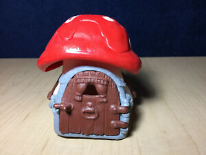 Smurfs Mushroom House Smurf Cottage Home Vintage Toy Play Set Red Roof PVC 40011