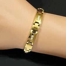 Bio Magnetic Tungsten Arthritis CTS RSI Unisex Crystal Cross 24K Gold Bracelet
