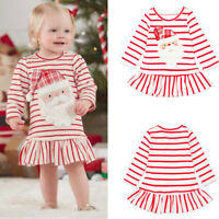 Xmas Toddler Kids Baby Girls Striped Princess Dress Christmas Outfits Clothes