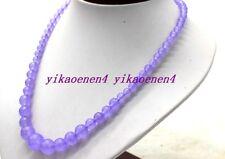 "New Natural 6-14mm Purple Alexandrite Round Gemstone Beads Necklace 18""AA"